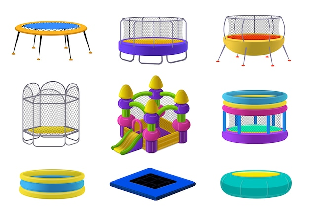 Trampoline set. cartoon set van trampoline