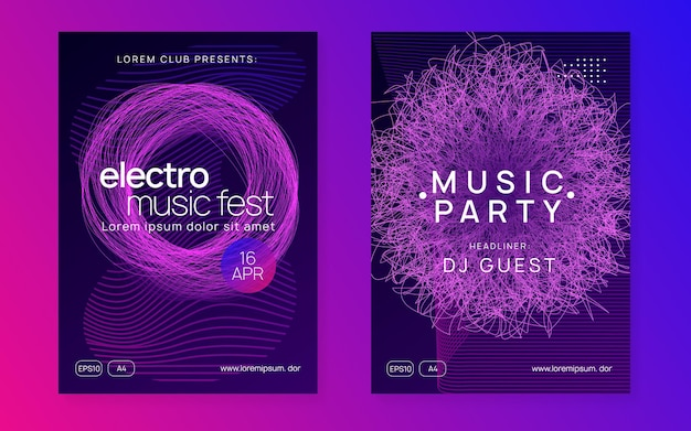 Trance-evenement. dynamische vloeiende vorm en lijn. futuristische concertcoverset. neon trance evenement flyer. techno dj-feest. electro-dansmuziek. elektronisch geluid. clubfeest poster.
