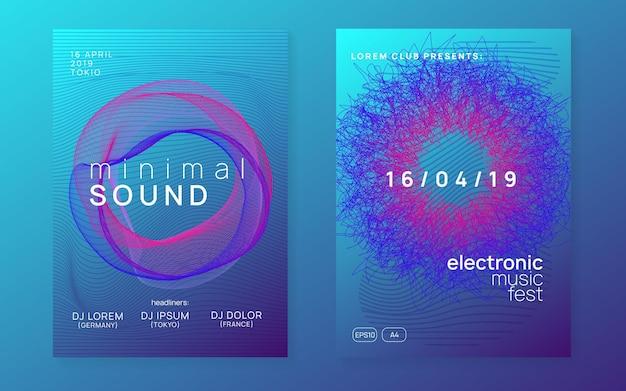 Trance feest. dynamische vloeiende vorm en lijn. commerciële discotheek hoesset. neon trance feestvlieger. electro-dansmuziek. elektronisch geluid. club dj-poster. technofest evenement.