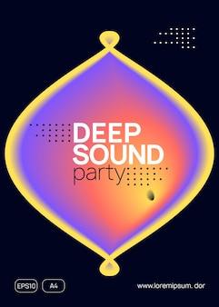 Trance-poster. coole glitch voor set. muziek en tentoonstellingsvorm. golvend huisfeest. gradiëntpatroon voor uitnodigingsconcept. paarse en oranje trance-poster