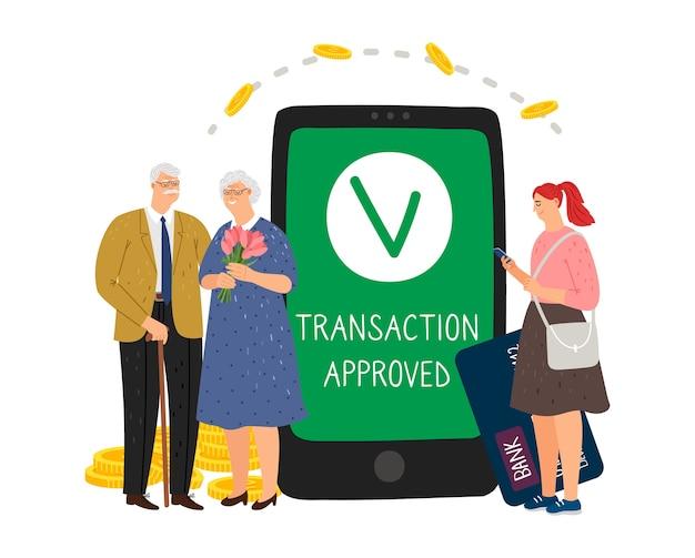 Transactie goedgekeurd. voor ouders zorgen. mobiel bankieren, overschrijving. meisje brengt geld over naar ouderen vector concept