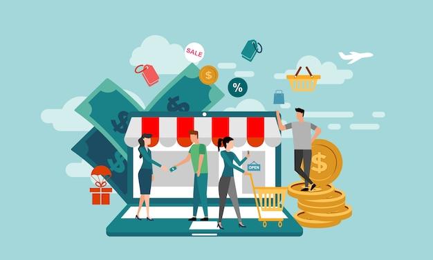 Transactie mensen karakter concept. beleggers in vlakke stijl brengen online geld mee in ideeën.