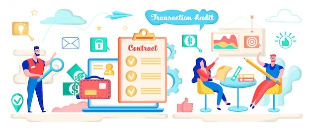 Transactiecontrole, contract controleren met vergrootglas.