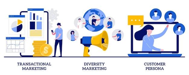 Transactionele en diversiteitsmarketing, klantpersonageconcept met kleine mensen. marketingstrategieën ingesteld. individuele verkoop, reclame op maat. Premium Vector
