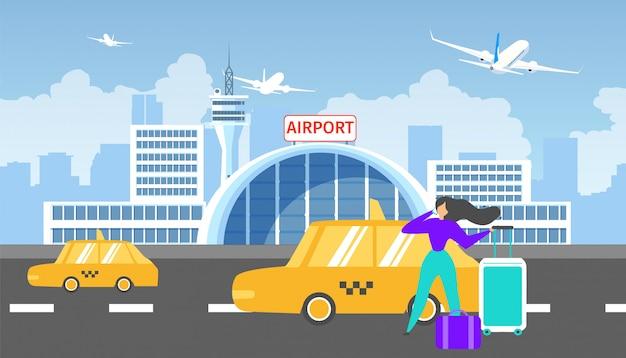 Transfer naar luchthaven met taxi service platte vector