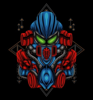 Transformers hoofd mecha illustratie voor t-shirt of badge