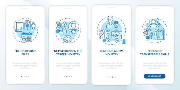 Transition job pro's onboarding mobiele app-paginascherm met concepten. loopbaanverandering voordelen walkthrough 4 stappen grafische instructies.