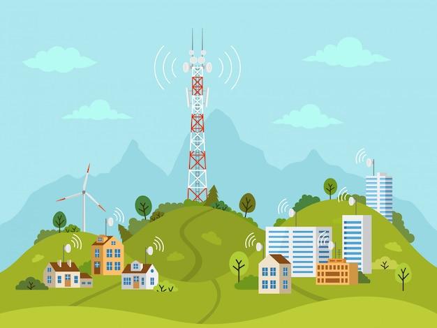 Transmissietoren op landschap met signaalgolven