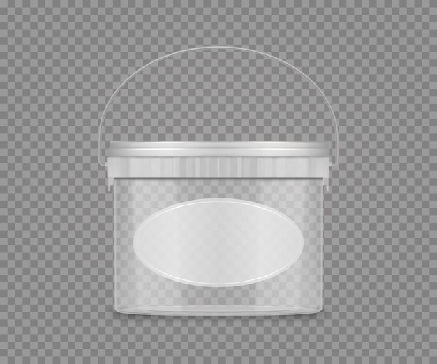 Transparant emmermodel met label en handvat voor kaas, ijs, mayonaise, yoghurt