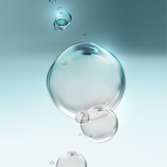 Transparant fris glanzend water bubbels. illustratie