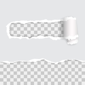Transparant gescheurd papier met schaduwen
