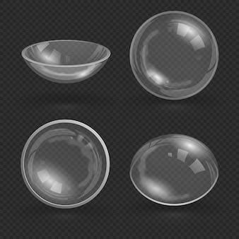Transparant glas oog contact optische lens geïsoleerd vectorillustratie. medische glazen transparante lens voor zicht
