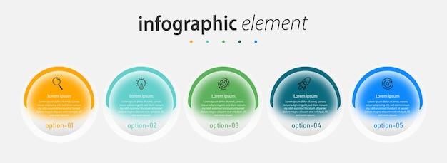 Transparant glaseffect zakelijk creatief infographics sjabloonontwerp