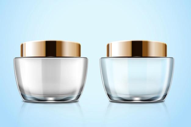Transparant glazen cosmetische zalfpot mockup set in 3d illustratie