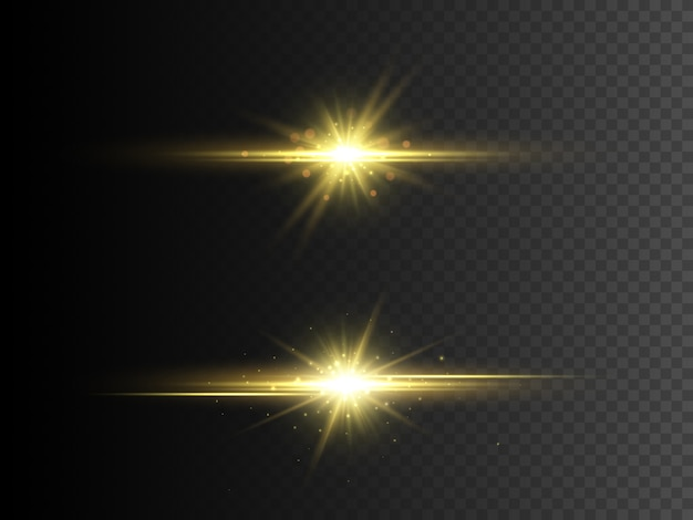 Transparant gloedlichteffect. gouden glitterster met glitters.