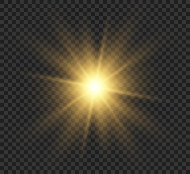 Transparant gloedlichteffect met heldere stralen. de ster explodeerde met glitters en hoogtepunten. illustratie.