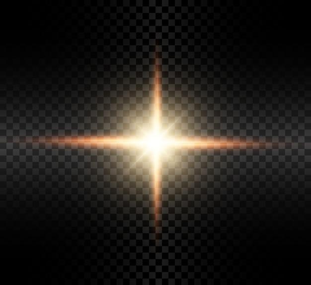 Transparant gloedlichteffect met heldere stralen.