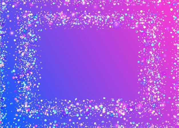 Transparant klatergoud. glitterfolie. glitch confetti. laserontwerp. paars glanzend effect. moderne kunst. verjaardag textuur. disco realistisch verloop. roze transparant klatergoud