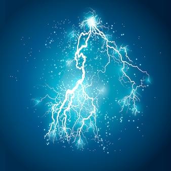 Transparant lichteffect van elektrische bliksem.