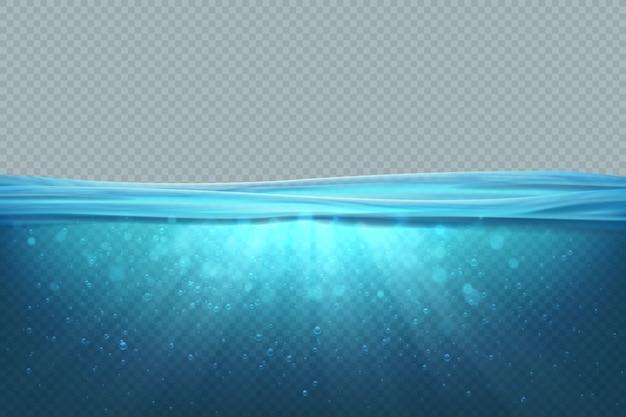 Transparant onder water. realistische blauwe zeewateroppervlakte, 3d oceaanpoolmeer diepe golf. marinier