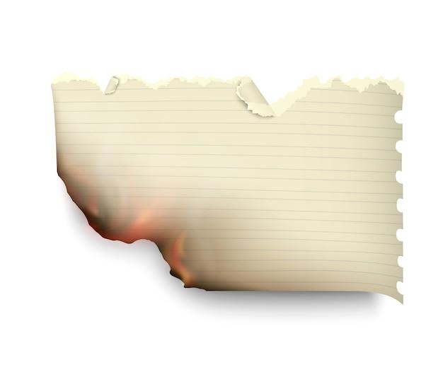 Transparant ontwerp brandende sjablonen gescheurd papier met vuur