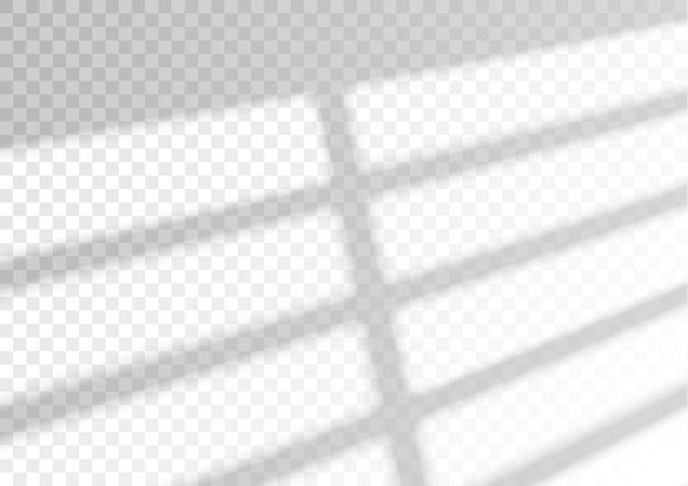Transparant overlay-venster en jaloezieën schaduw realistisch lichteffect