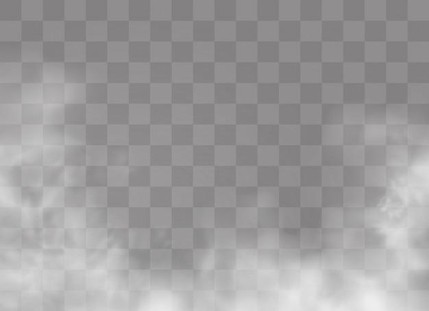 Transparant speciaal effect valt op door mist of rook. witte wolk, mist of smog.