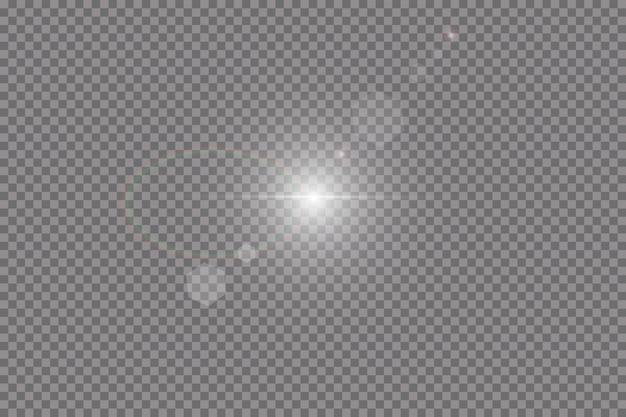 Transparant zonlicht speciaal lens flare lichteffect. zonneflits met stralen en schijnwerpers