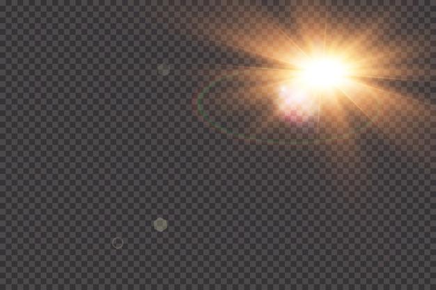 Transparant zonlicht speciaal lens flare lichteffect. zonneflits met stralen en schijnwerpers.