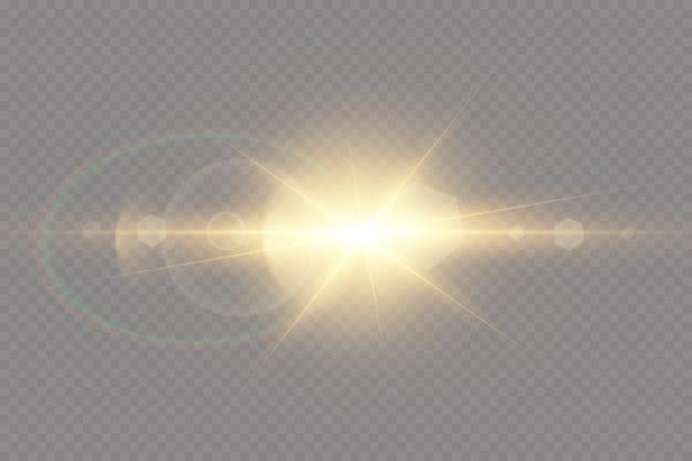 Transparant zonlicht speciaal lens flare lichteffect.