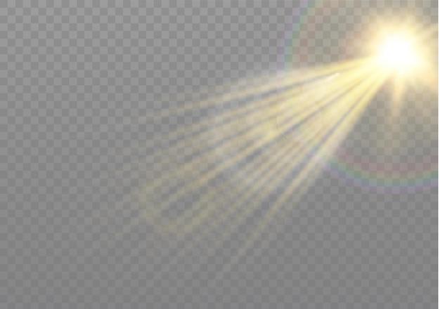 Transparant zonlicht speciaal lensflitslichteffect. zonnelensflits aan de voorkant. vervagen in het licht van uitstraling. element van decor. horizontale sterrenstralen en zoeklicht.