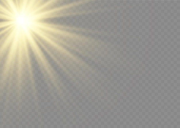 Transparant zonlicht speciaal lensflitslichteffect. zonnelensflits aan de voorkant. vervagen in het licht van uitstraling.