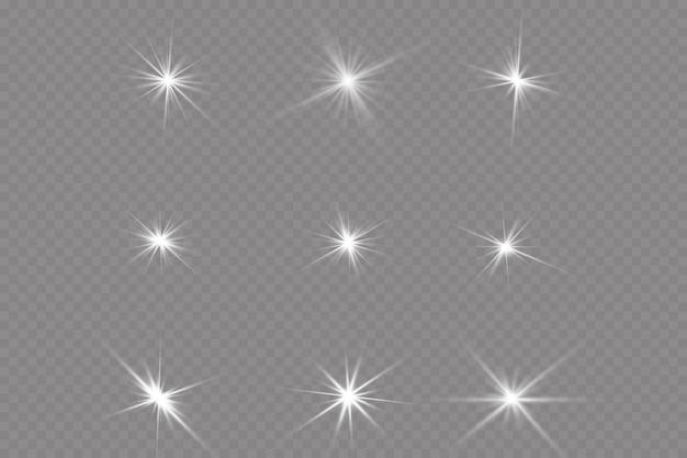 Transparant zonlicht speciale lens flare lichteffect. zonflits met stralen en schijnwerper