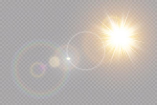 Transparant zonlicht speciale lens flare lichteffect.