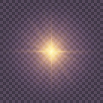 Transparant zonlicht speciale lens flitslichteffect. zonnelensflits aan de voorkant. vervagen in het licht van uitstraling. licht markeert geel speciaal effect met lichtstralen en magische schitteringen. zon