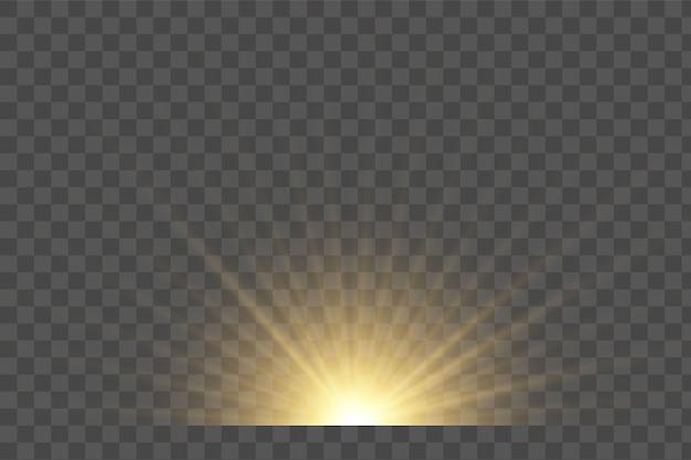 Transparant zonlicht speciale lens flitslichteffect. zonnelensflits aan de voorkant. vervagen in het licht van uitstraling.
