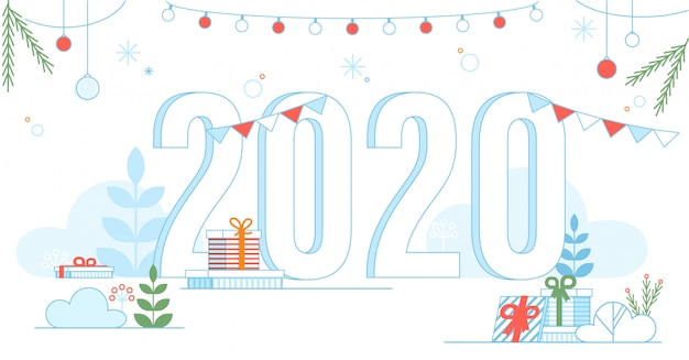 Transparante 2020 nieuwjaar symbool feestelijke poster