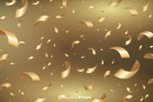 Transparante achtergrond met gouden confetti