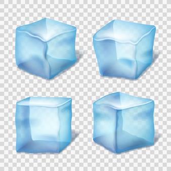 Transparante blauwe ijsblokjes in plaid