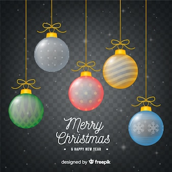 Transparante colorfur kerst ballen achtergrond