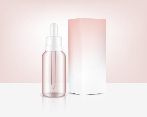Transparante druppelfles, realistische roségouden parfumolie, cosmetica en doos voor huidverzorgingsproductillustratie. gezondheidszorg en medische conceptontwerp.