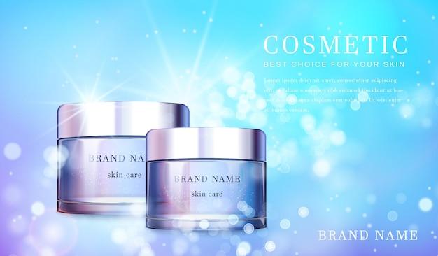 Transparante glazen cosmetische fles met glanzende glanzende achtergrond sjabloonbanner.