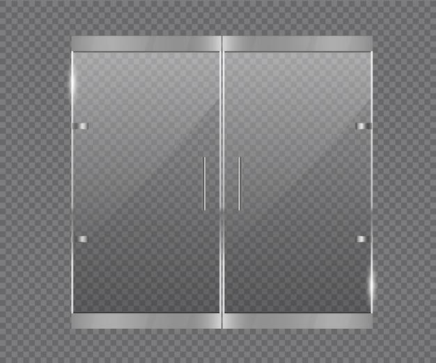 Transparante glazen deur vector.