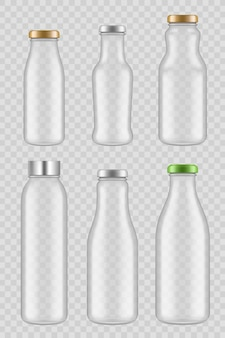 Transparante glazen flessen. pakketten voor sapmelk vector mockup geïsoleerd
