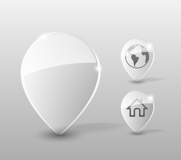 Transparante glazen pin met pictogrammen voor huis en wereldbol