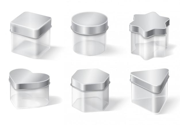 Transparante glazen pot met metalen dekselset
