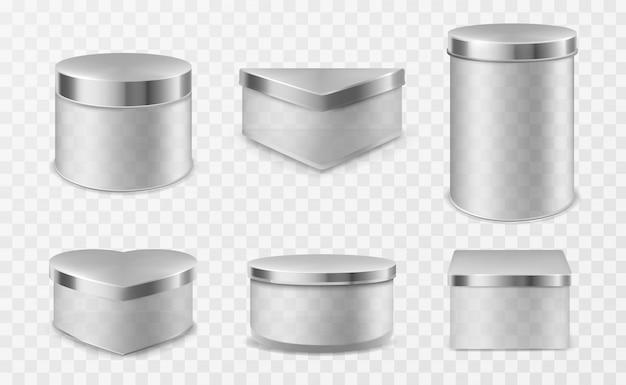 Transparante glazen potten met metalen deksels