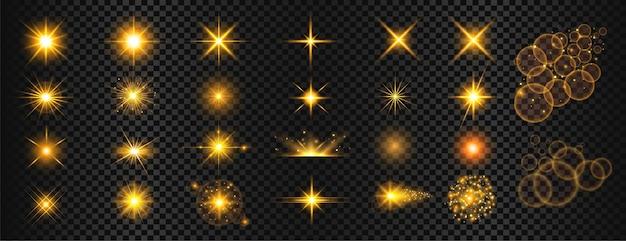 Transparante gouden lichtflare en sprankelt megaset