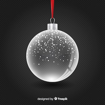 Transparante kristallen kerstbal