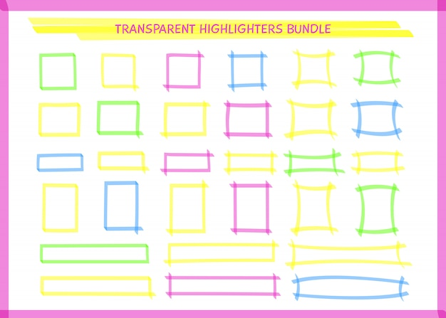 Transparante markeerstift rechthoekkaderset